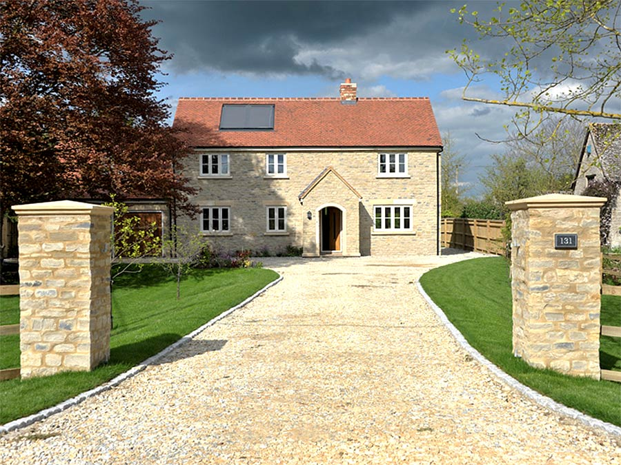 New gravel driveway and landscaping at a luxury new build family home in Oxfordshire