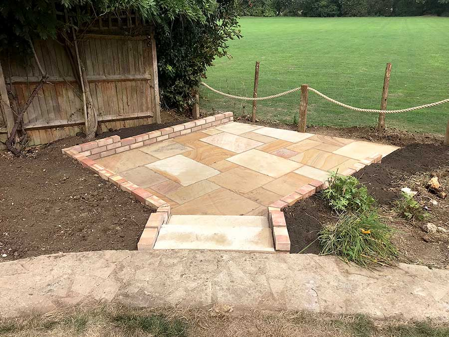 Small sunken patio down steps