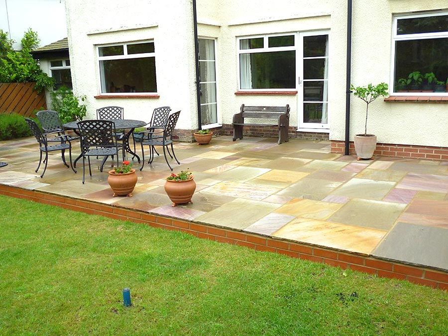 Natural sandstone raised patio for Natural terrace