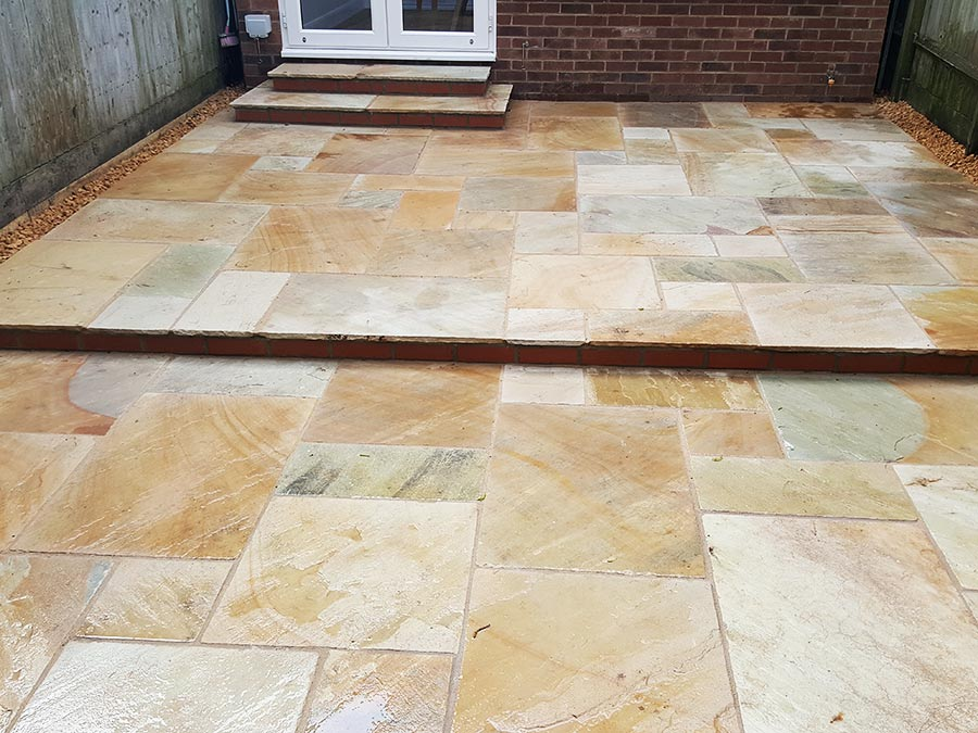 AWBS Desert Sandstone Patio at a terraced house in Oxford by AWBS Landscaping