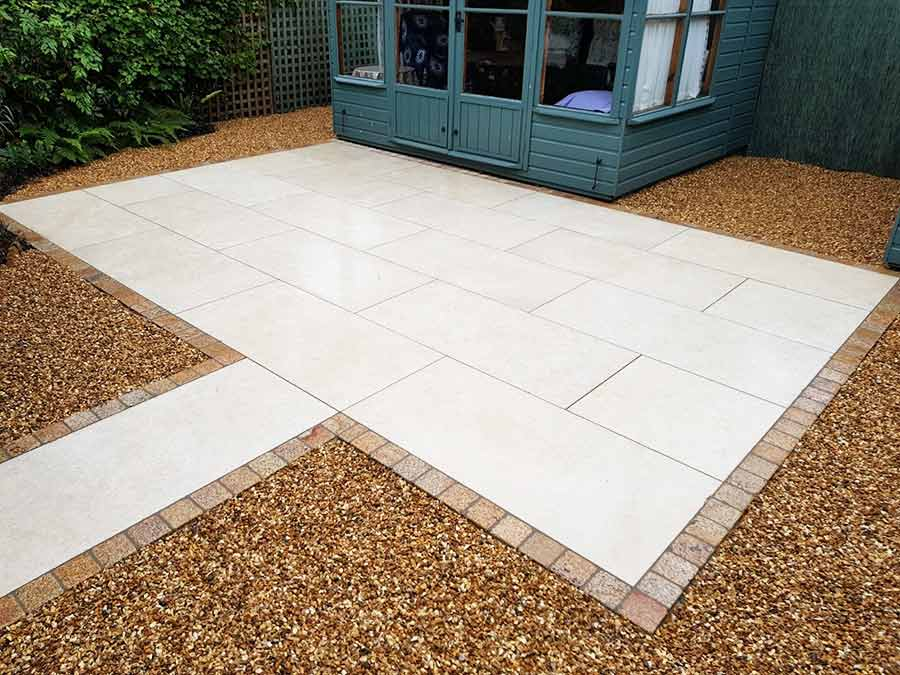 Digby Gigante stone effect porcelain paving in Greige colour installed by AWBS Landscaping in Oxford