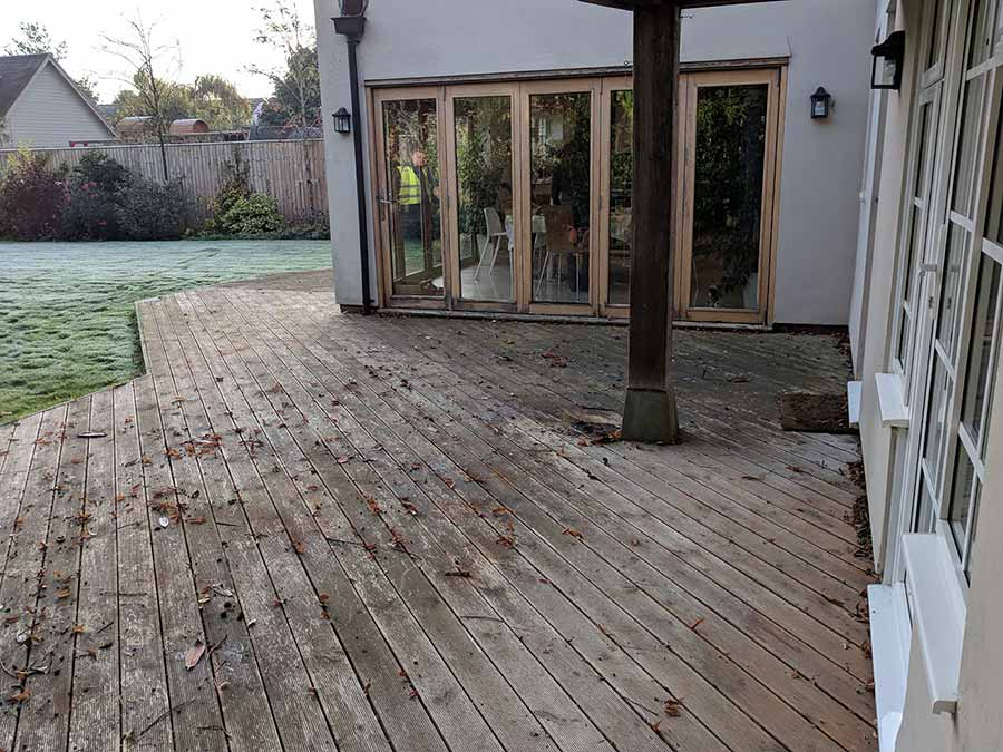 Rotten Decking Replaced With Wood Effect Porcelain Paving