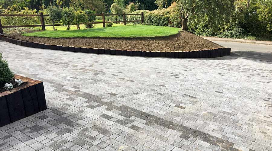 Brett Lugano block paved driveway installed by AWBS Landscaping in Oxford