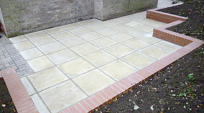 A small paved utility area created by the AWBS Landscaping small projects team in Oxford